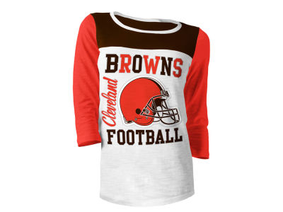 Cleveland Browns 5th & Ocean NFL Women's Glitter 3/4 Sleeve T-Shirt