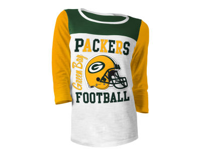 Green Bay Packers 5th & Ocean NFL Women's Glitter 3/4 Sleeve T-Shirt