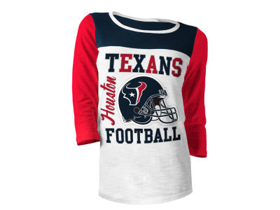 Houston Texans 5th & Ocean NFL Women's Glitter 3/4 Sleeve T-Shirt