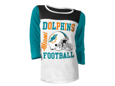 Miami Dolphins 5th & Ocean NFL Women's Glitter 3/4 Sleeve T-Shirt