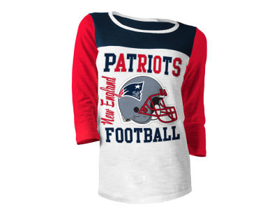 New England Patriots 5th & Ocean NFL Women's Glitter 3/4 Sleeve T-Shirt