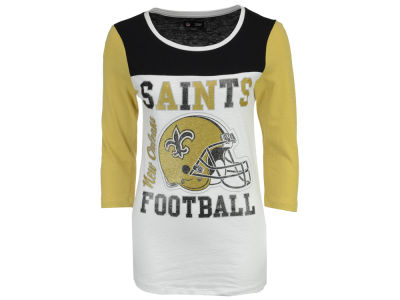 New Orleans Saints 5th & Ocean NFL Women's Glitter 3/4 Sleeve T-Shirt