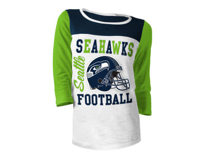 Seattle Seahawks 5th & Ocean NFL Women's Glitter 3/4 Sleeve T-Shirt