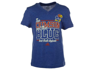 Kansas Jayhawks adidas NCAA Youth Girls Show Your Colors Triblend V-Neck T-Shirt