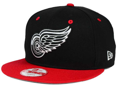Detroit Red Wings New Era NHL Black White Team Color 9FIFTY Snapback Cap