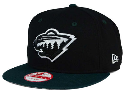 Minnesota Wild New Era NHL Black White Team Color 9FIFTY Snapback Cap