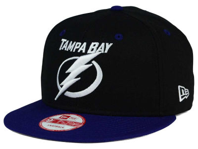 Tampa Bay Lightning New Era NHL Black White Team Color 9FIFTY Snapback Cap