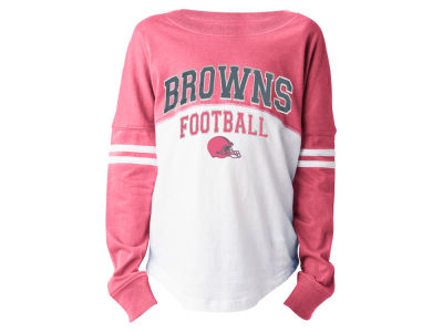 Cleveland Browns 5th & Ocean NFL Youth Girls Pink Sweeper Long Sleeve T-Shirt