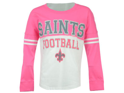 New Orleans Saints 5th & Ocean NFL Youth Girls Pink Sweeper Long Sleeve T-Shirt