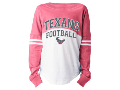 Houston Texans 5th & Ocean NFL Youth Girls Pink Sweeper Long Sleeve T-Shirt