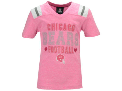 Chicago Bears 5th & Ocean NFL Youth Girls Pink Heart Football T-Shirt