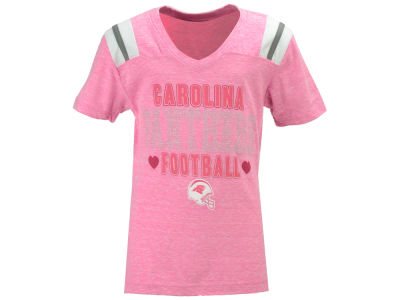 Carolina Panthers 5th & Ocean NFL Youth Girls Pink Heart Football T-Shirt