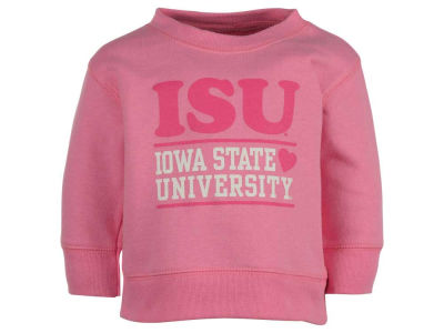 Iowa State Cyclones NCAA Newborn Girls Stacked Pink Hearts Crew Fleece