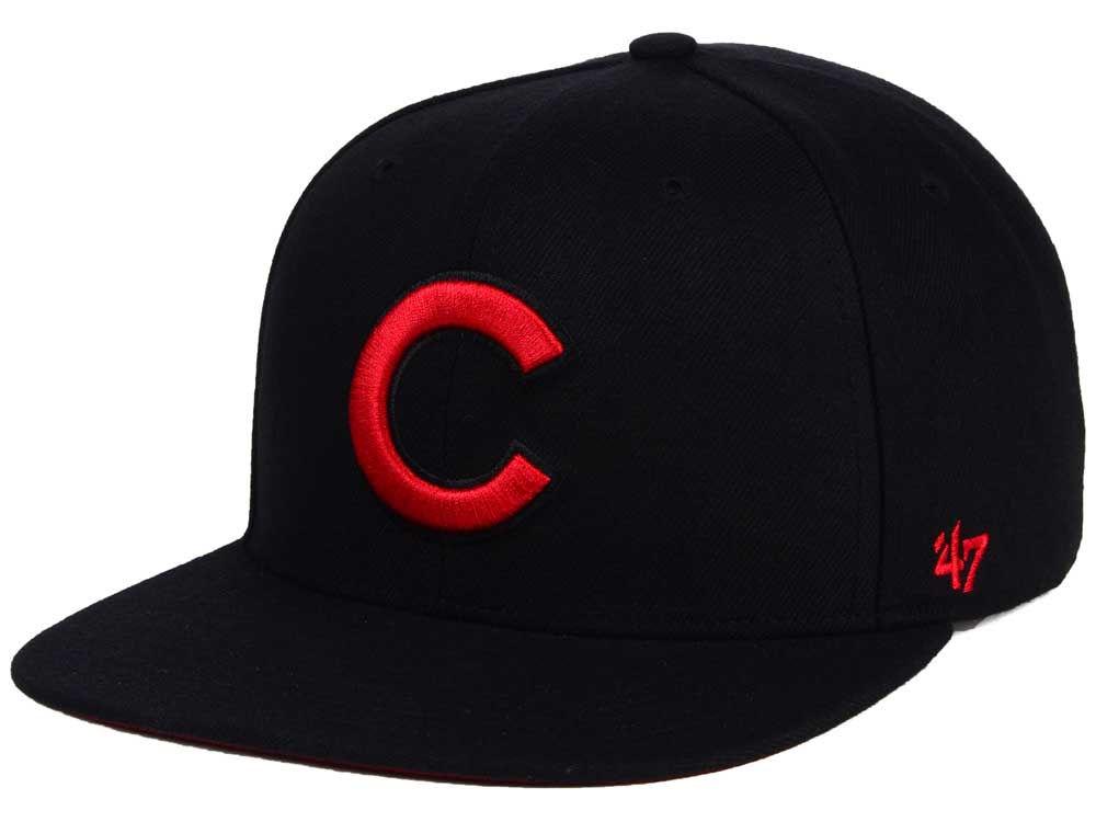 Chicago Cubs  47 MLB  47 Black Red Shot Snapback Cap  d011ad8927ce