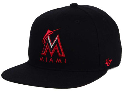 Miami Marlins '47 MLB '47 Black Red Shot Snapback Cap