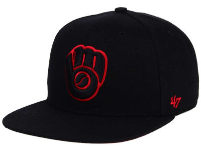 Milwaukee Brewers '47 MLB '47 Black Red Shot Snapback Cap