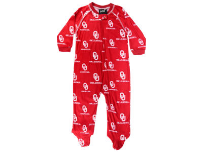 Oklahoma Sooners Outerstuff NCAA Newborn All-Over Logo Raglan Full Zip Coverall