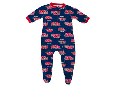 Ole Miss Rebels NCAA Newborn All-Over Logo Raglan Full Zip Coverall