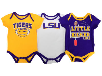 LSU Tigers Outerstuff NCAA Newborn 3 Points 3-Piece Creeper Set
