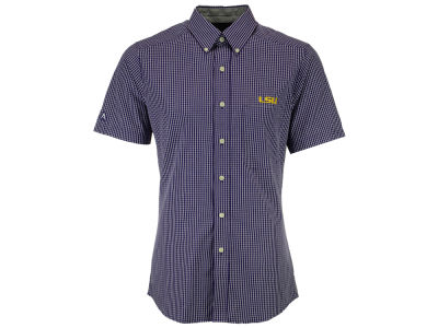 LSU Tigers Antigua NCAA Mens League Short Sleeve Button Down