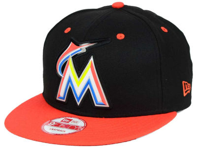 Miami Marlins New Era MLB Beveled Rubber Logo 9FIFTY Snapback Cap