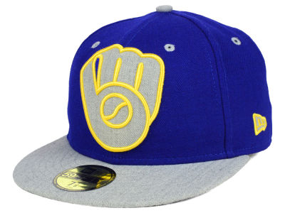 Milwaukee Brewers New Era MLB Full Heather XL Logo 59FIFTY Cap