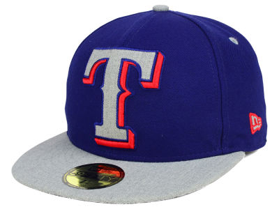 Texas Rangers New Era MLB Full Heather XL Logo 59FIFTY Cap
