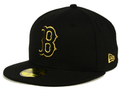 Boston Red Sox New Era MLB Black On Metallic Gold 59FIFTY Cap