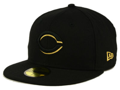 Cincinnati Reds New Era MLB Black On Metallic Gold 59FIFTY Cap