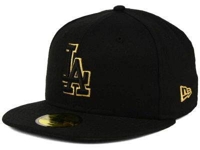 innovative design a81a8 6335b Los Angeles Dodgers New Era MLB Black On Metallic Gold 59FIFTY Cap