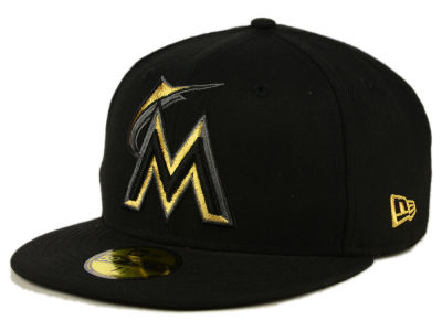 Miami Marlins New Era MLB Black On Metallic Gold 59FIFTY Cap