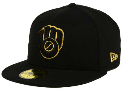 Milwaukee Brewers New Era MLB Black On Metallic Gold 59FIFTY Cap