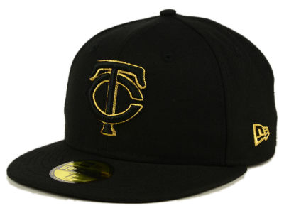Minnesota Twins New Era MLB Black On Metallic Gold 59FIFTY Cap