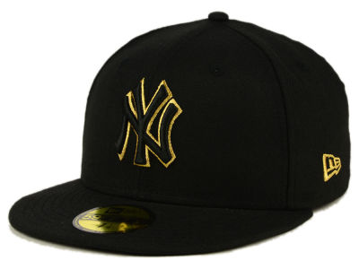 New York Yankees New Era MLB Black On Metallic Gold 59FIFTY Cap