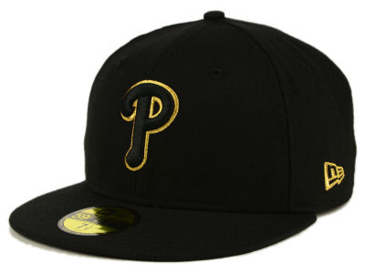 Philadelphia Phillies New Era MLB Black On Metallic Gold 59FIFTY Cap