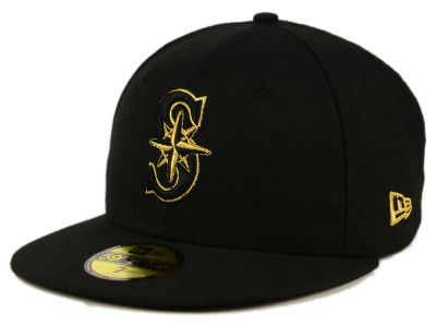 Seattle Mariners New Era MLB Black On Metallic Gold 59FIFTY Cap