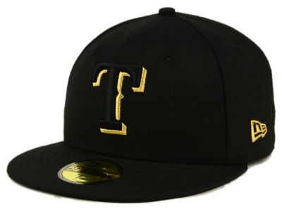 Texas Rangers New Era MLB Black On Metallic Gold 59FIFTY Cap