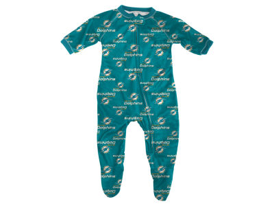 Miami Dolphins Outerstuff NFL Infant Raglan Zip Up Coverall Sleeper