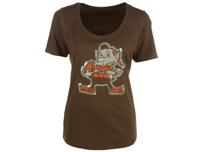 Cleveland Browns '47 NFL Women's Lux Sequins Scoop T-Shirt