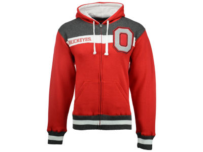 Ohio State Buckeyes J America NCAA Men's Letterman Chest Stripe Full Zip Hoodie