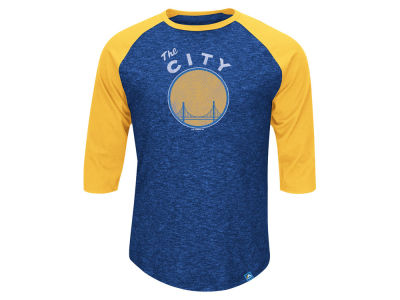 Golden State Warriors Majestic NBA Don't Judge HWC Three Quarter Raglan T-Shirt