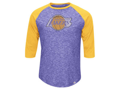 Los Angeles Lakers Majestic NBA Don't Judge HWC Three Quarter Raglan T-Shirt