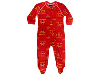 Iowa State Cyclones Outerstuff NCAA Newborn All-Over Logo Raglan Full Zip Coverall