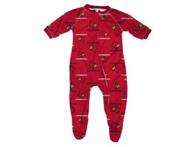 Louisville Cardinals NCAA Newborn All-Over Logo Raglan Full Zip Coverall