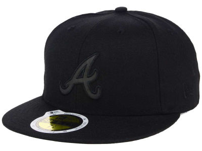 Atlanta Braves New Era MLB Black on Black Iridescent 59FIFTY Cap