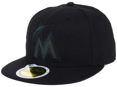 Miami Marlins New Era MLB Black on Black Iridescent 59FIFTY Cap