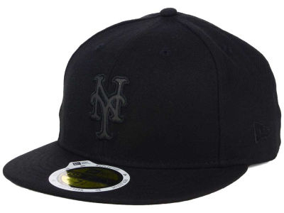 New York Mets New Era MLB Black on Black Iridescent 59FIFTY Cap