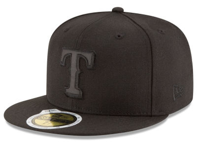 Texas Rangers New Era MLB Black on Black Iridescent 59FIFTY Cap