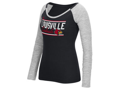 Louisville Cardinals adidas NCAA Women's Double Color Bar Long Sleeve Marled Slub T-Shirt