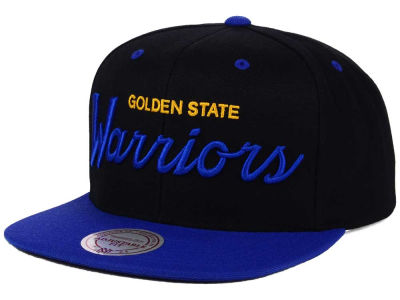Golden State Warriors Mitchell and Ness NBA Old Cool Script Snapback Cap